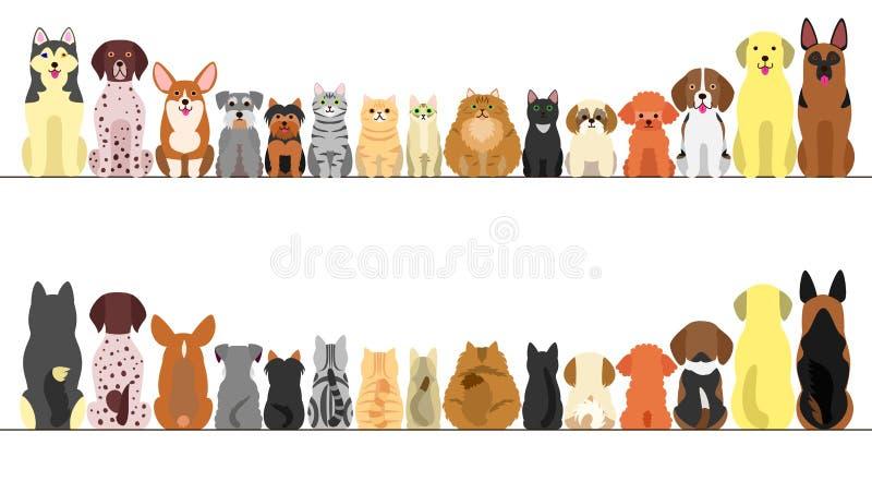 大和小狗和猫横幅集合 皇族释放例证
