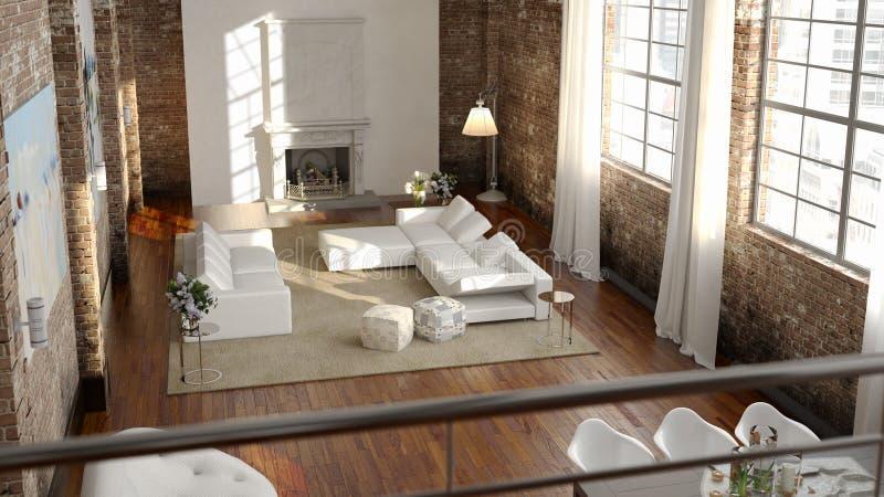 大和舒适的客厅在顶楼 向量例证