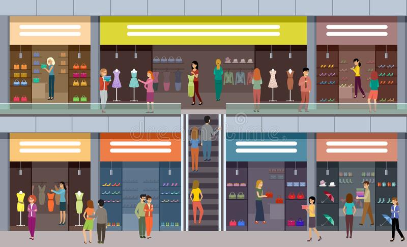 大商场 时尚商店 人们买衣服买鞋 库存例证