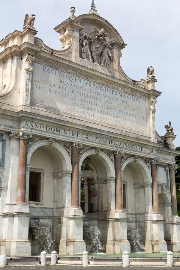 大喷泉`是一个巨大的喷泉亦称的Fontana小山谷` Acqua Paola Il Fontanone `位于Janiculum Hil 图库摄影