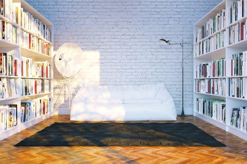 大图书馆搁置与许多书在白色客厅 库存图片