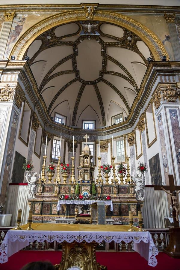大圣保禄教堂大教堂内部在那不勒斯,意大利 图库摄影