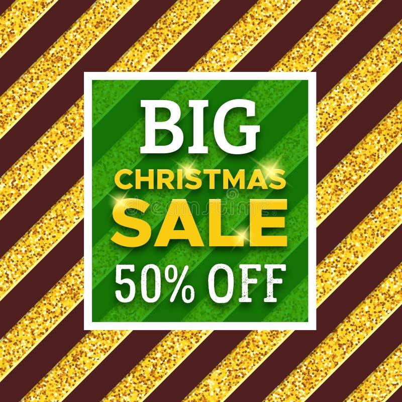 大圣诞节销售促进横幅的50% 库存例证