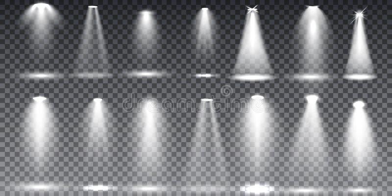 大在透明背景的收藏现实白色场面照明 库存例证