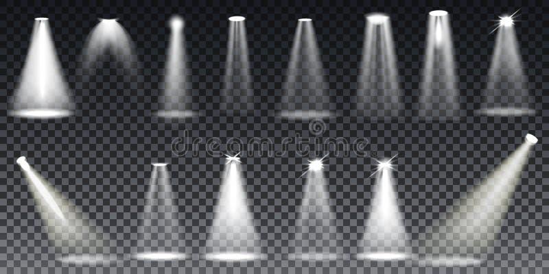 大在透明背景的收藏现实白色场面照明 向量例证