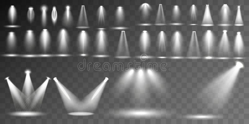 大在透明背景的收藏现实白色场面照明 皇族释放例证