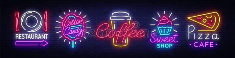 大在题材食物的收藏霓虹灯广告 设置霓虹灯广告餐馆,甜点,薄饼,果子,棉花糖,咖啡 氖 库存例证