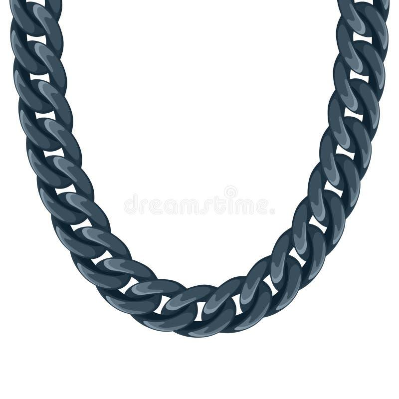 大块的链塑料黑项链或镯子 向量例证