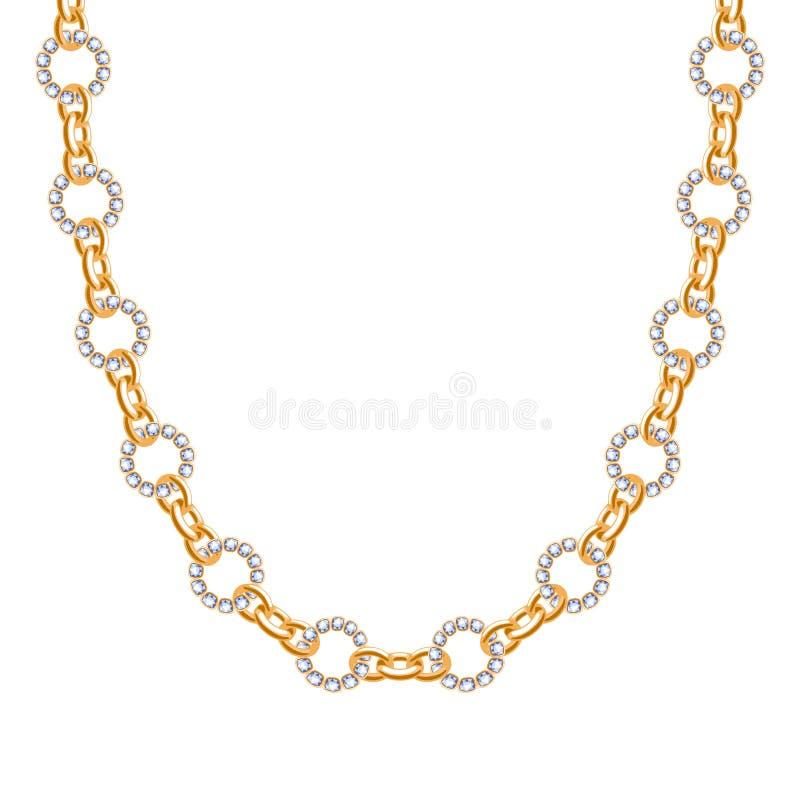 大块的链子金黄金属项链或镯子有金刚石的 皇族释放例证