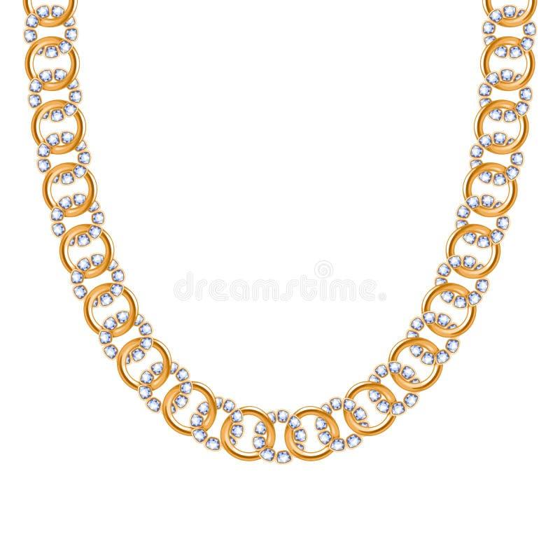 大块的链子金黄金属项链或镯子有金刚石的 库存例证