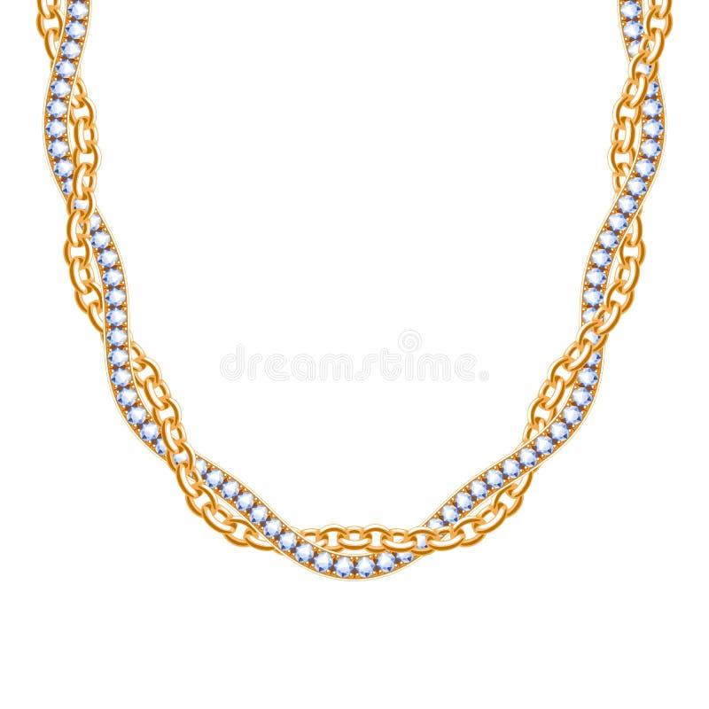 大块的链子金黄金属项链或镯子有金刚石的 向量例证