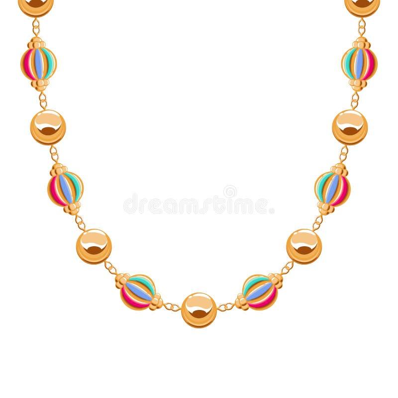 大块的链子金黄项链或镯子有小珠的 库存例证