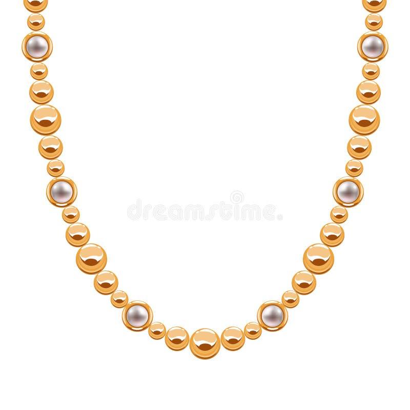 大块的链子金黄项链或镯子有小珠的 皇族释放例证