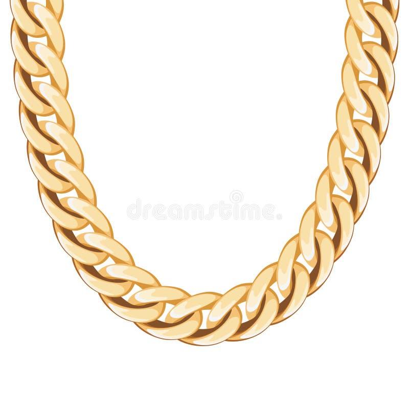 大块的链金黄金属项链或镯子 皇族释放例证