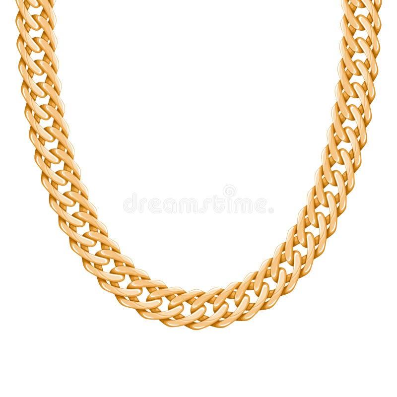 大块的链金黄金属项链或镯子 向量例证