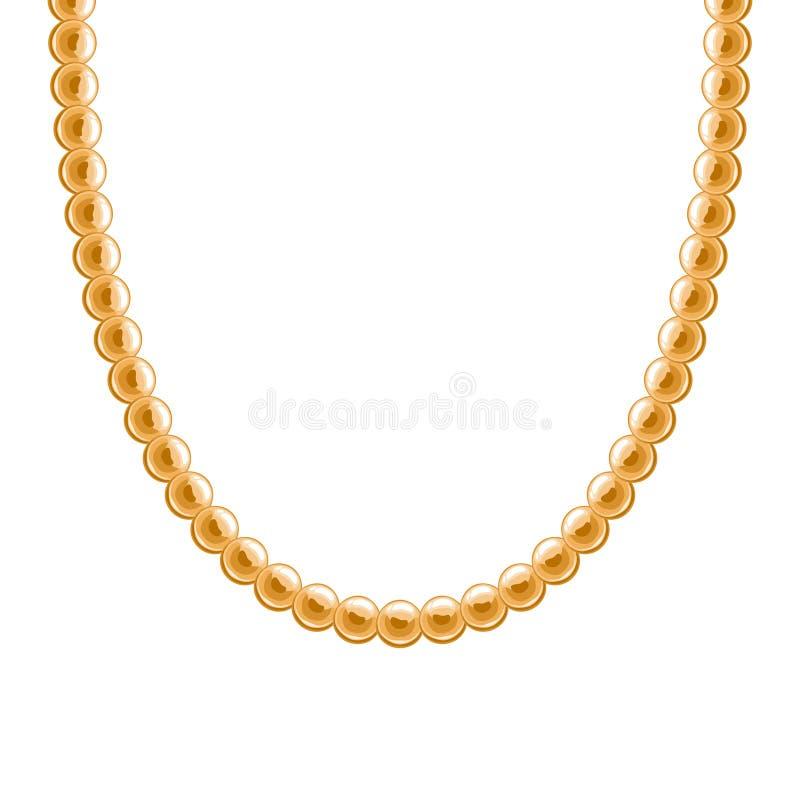 大块的链金黄金属项链或镯子 库存例证