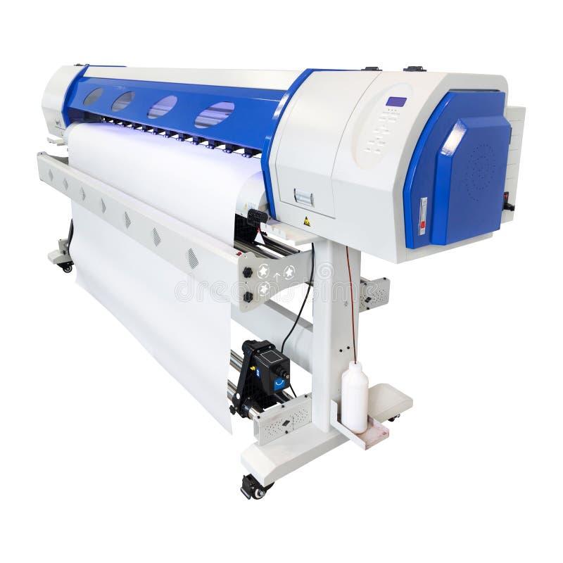 大型格式化在白色背景的喷墨打印机 乙烯基打印输出机器用于贴纸或海报广告牌产业 库存例证