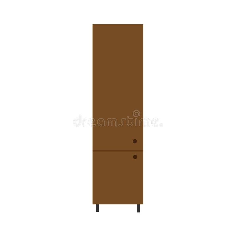 大型衣橱传染媒介例证机架架子家具象 葡萄酒典雅的老碗柜内阁壁橱 木衣橱设计 向量例证