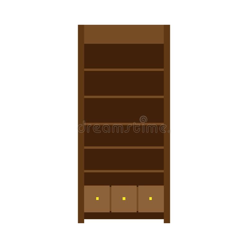 大型衣橱传染媒介llustration机架架子家具象 葡萄酒典雅的老碗柜内阁壁橱 木衣橱设计 皇族释放例证