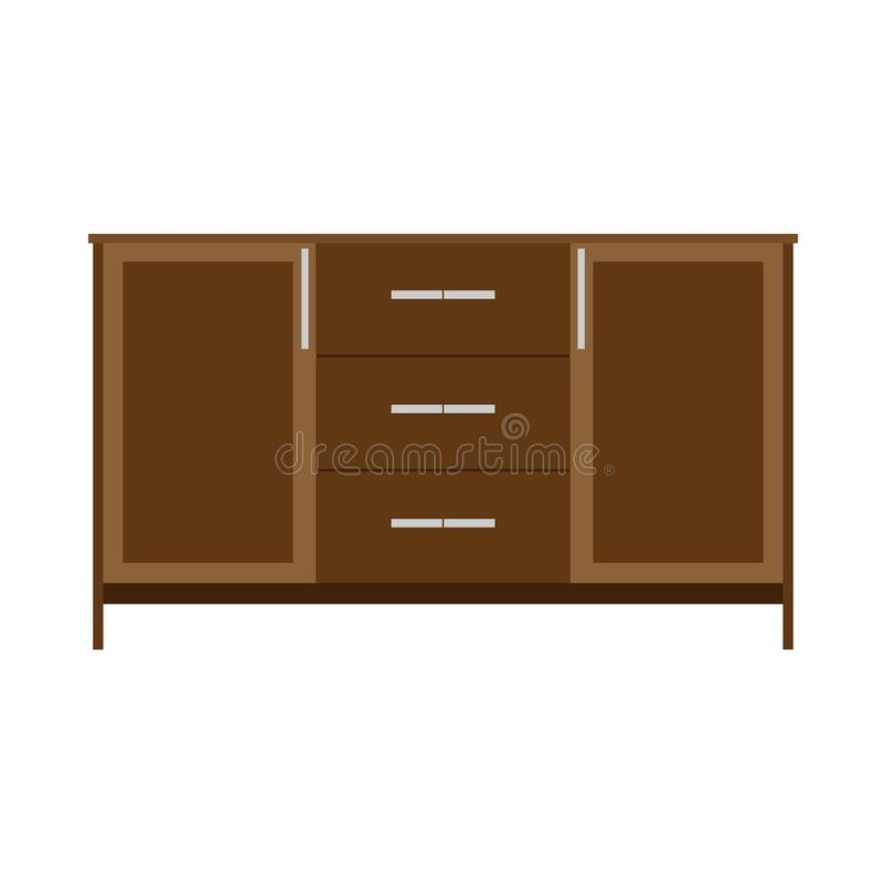 大型衣橱传染媒介llustration机架架子家具象 葡萄酒典雅的老碗柜内阁壁橱 木衣橱设计 向量例证