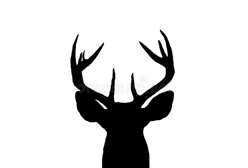 大型装配架鹿现出轮廓白尾鹿 免版税图库摄影