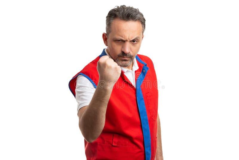 大型超级市场雇员陈列拳头 免版税库存照片