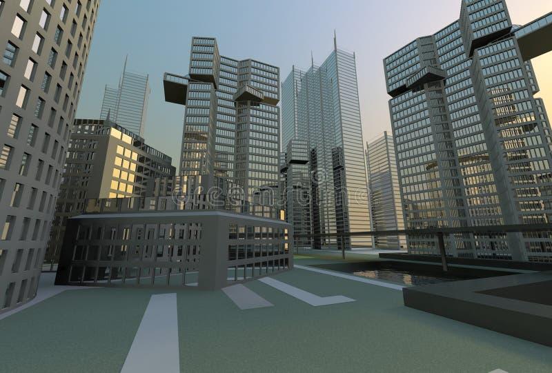 大城市地平线视图 库存例证
