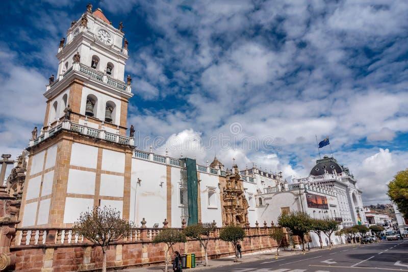大城市大教堂在苏克雷,玻利维亚 库存照片