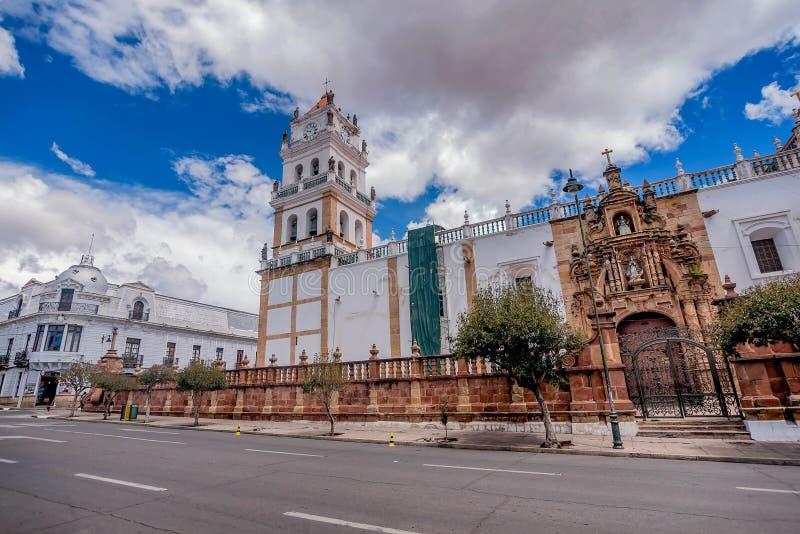 大城市大教堂在苏克雷,玻利维亚 免版税图库摄影