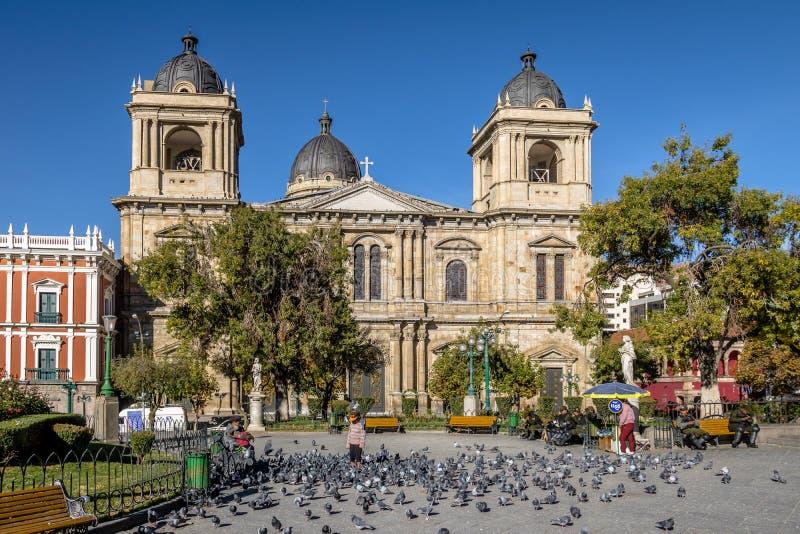 大城市大教堂在Murillo广场-拉巴斯,玻利维亚 免版税库存照片
