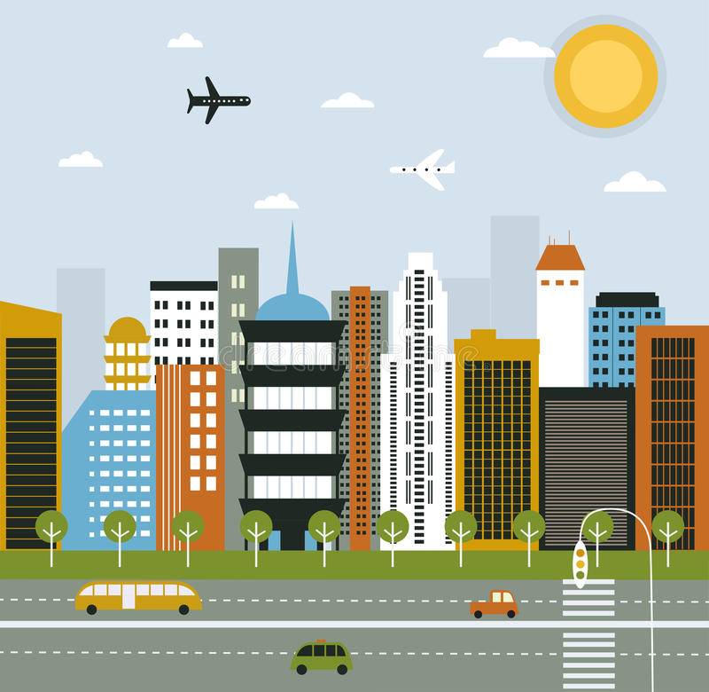大城市生活。 向量例证