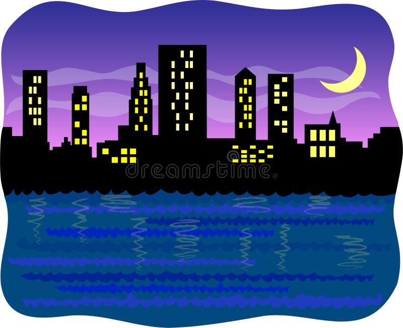 大城市eps港口晚上 皇族释放例证