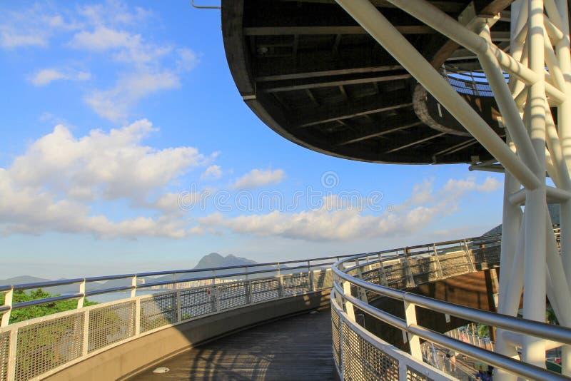 大埔海滨公园一个螺旋监视塔  免版税库存图片