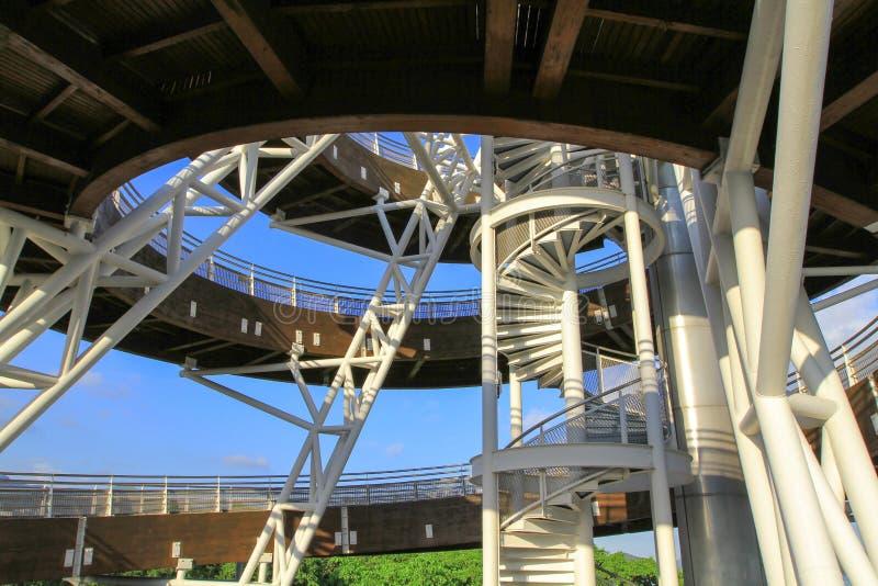 大埔海滨公园一个螺旋监视塔  免版税图库摄影