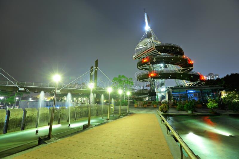 大埔海滨公园螺旋监视塔在香港 库存图片