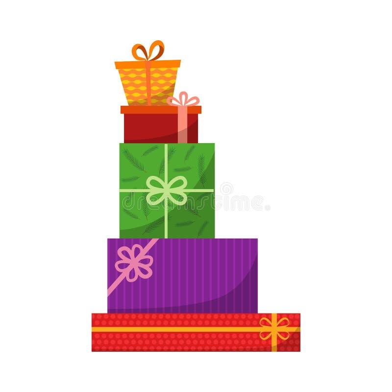 大堆五颜六色的被包裹的礼物盒 山礼物 有压倒多数弓的美丽的当前箱子 礼物盒象 向量例证