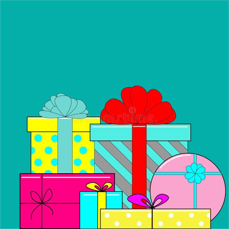 大堆五颜六色的被包裹的礼物盒 免版税库存图片