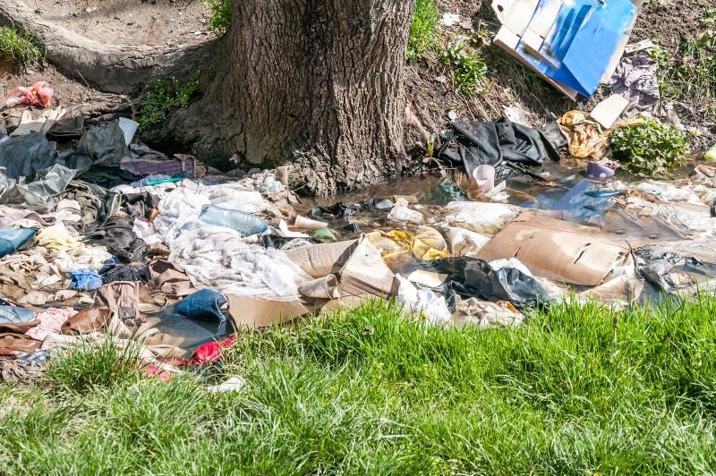 大堆垃圾和破烂物在污染自然与废弃物的河水 免版税库存照片
