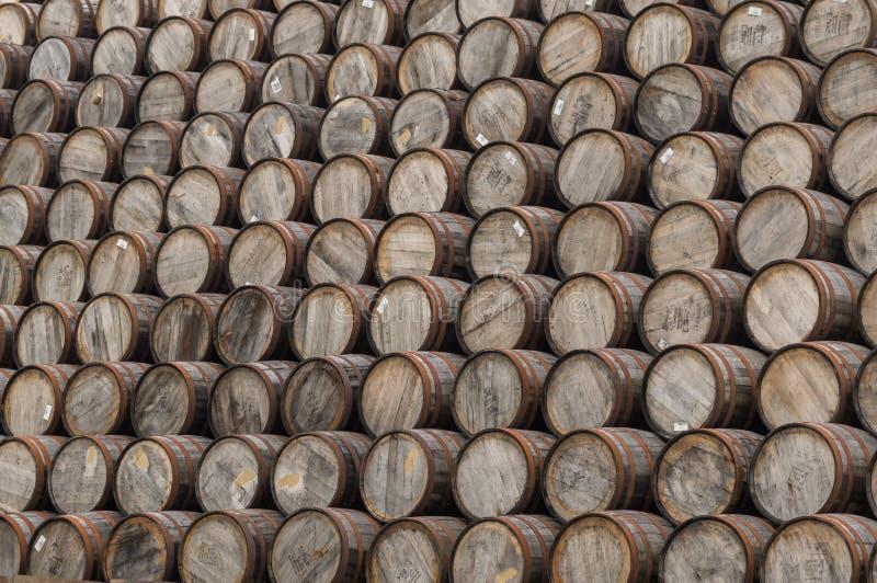 大堆威士忌酒桶 免版税库存照片