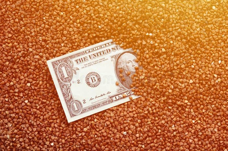大堆的背景纹理荞麦,在中间您看一美元票据  highe的概念 库存照片
