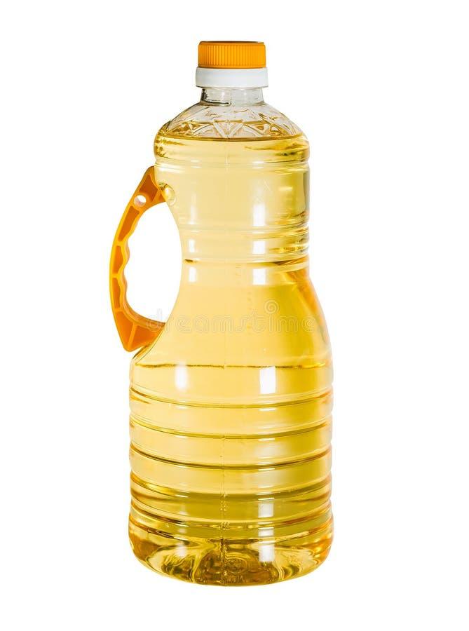 大塑料瓶菜油 库存图片