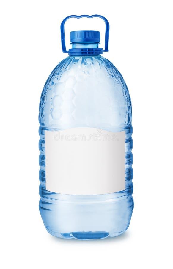 大塑料水瓶正面图有空白的标签的 库存图片