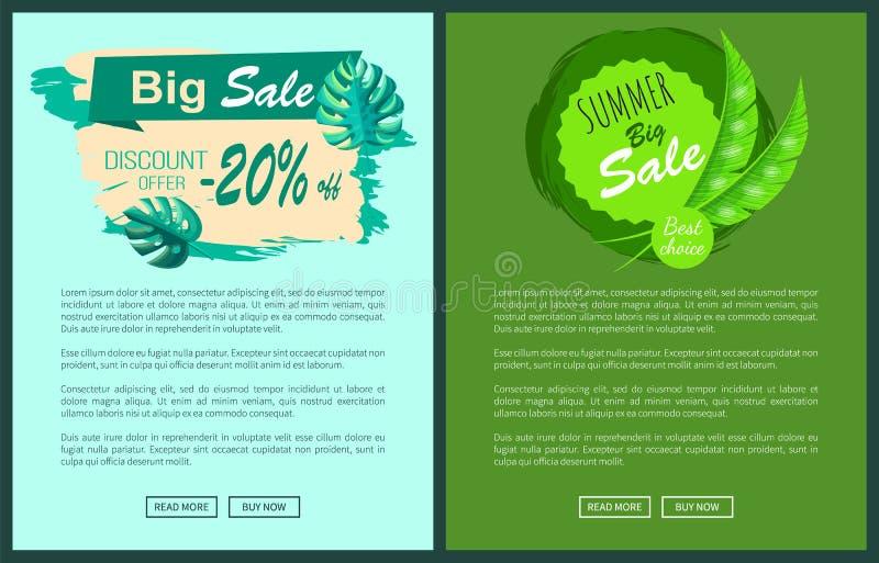 大夏天折扣海报设置了销售象征棕榈 库存例证