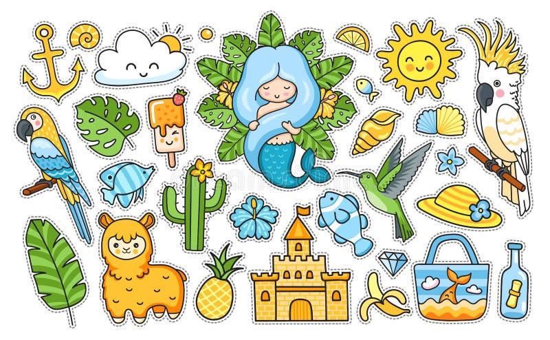 大夏天热带贴纸包装 美人鱼,鹦鹉,骆马,沙子城堡,鱼,colibri,蜂鸟,太阳 皇族释放例证