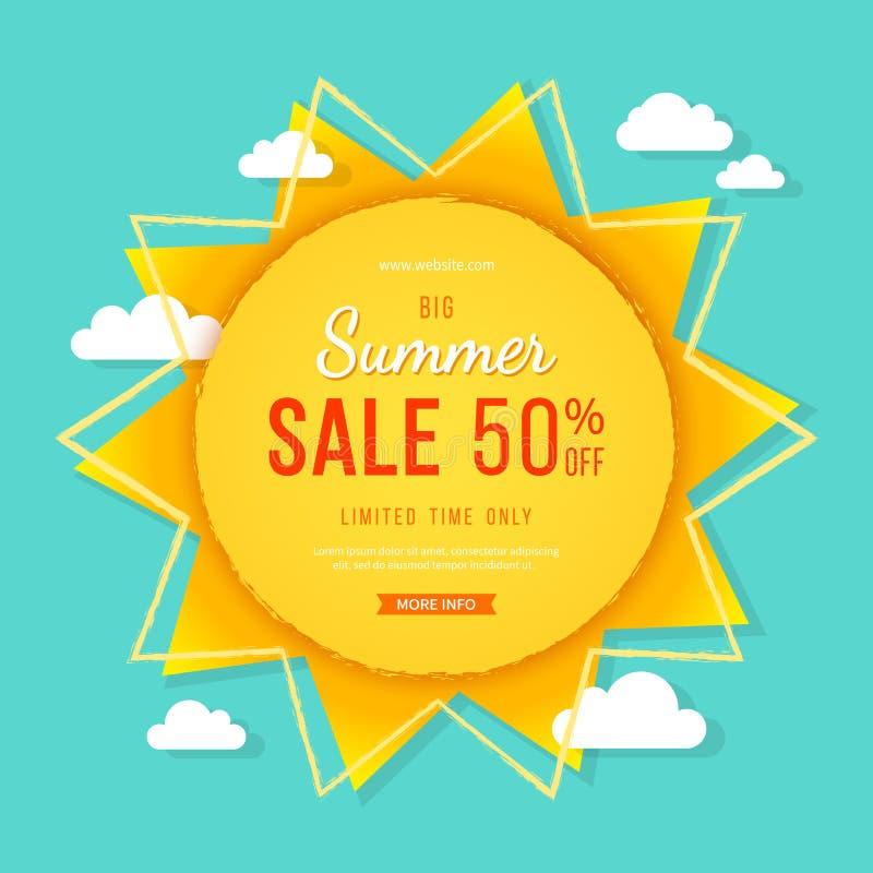 大夏天销售横幅 与光芒、云彩和标志的太阳 夏天模板印刷品或网的海报设计 传染媒介折扣背景 向量例证
