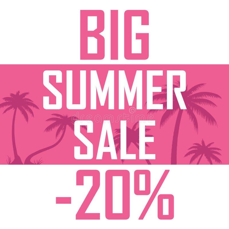 大夏天销售的海报在桃红色棕榈背景的  向量例证