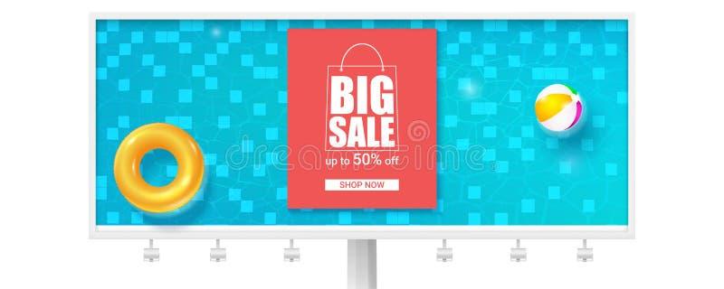 大夏天销售,热的提议夏令时 现实广告牌 游泳场用蓝色摇摆水,可膨胀的圆环 库存例证