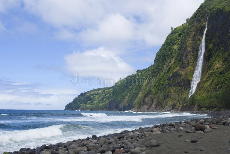 大夏威夷海岛谷wiapio 免版税图库摄影
