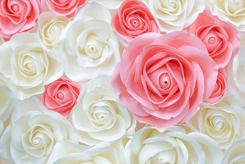 大大纸花 大桃红色,白,米黄罗斯,由纸做的牡丹 淡色纸背景样式可爱的样式 Flowe 免版税库存照片