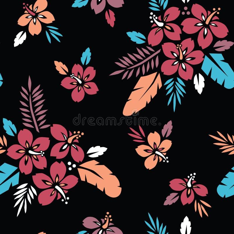 大大胆的五颜六色的热带异乎寻常的叶子,木槿花卉传染媒介无缝的样式 豪华的热带棕榈叶 向量例证